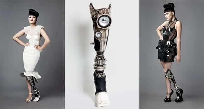 """Stereo Leg"" von The Alternative Limp Project, Design: Sophie de Oliveira, Foto: Rosemary Williams (Limp), Jon Enoch  (Viktoria Modesta mit Stereo Leg)"