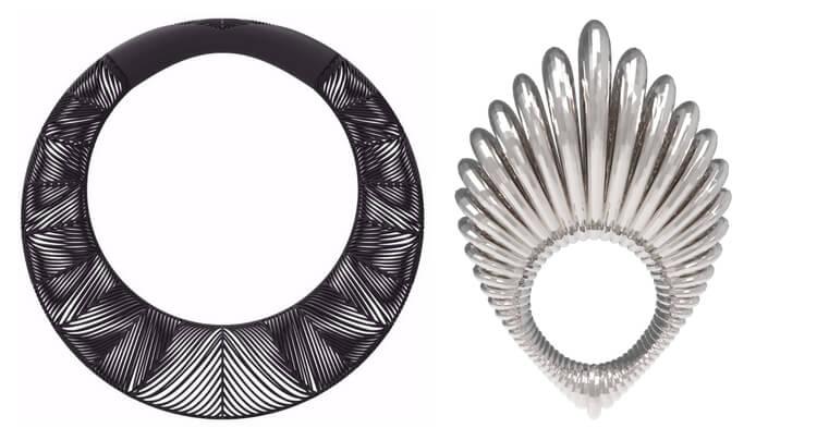 "Links: Halskette ""Chevron Giant Torque"", rechts: Ring ""Silver Spinal Ring"", Fotos: https://vojdstudios.com"