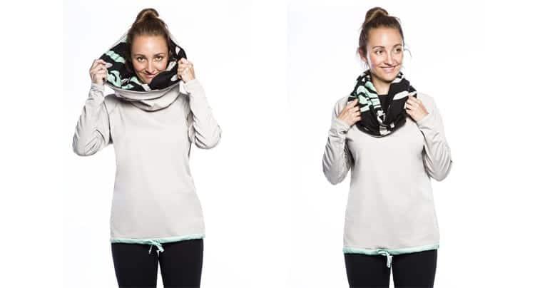 Wrap-it-up Hoodie mit türkis-grünem Bündchen und Innenseite, Foto: Copanya