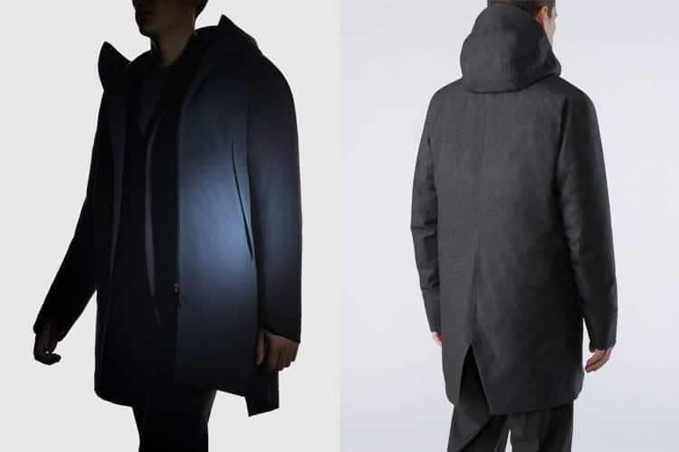 L: Indische Blazer - ideal bei windigen Tage, ca. 650,00 €. R: Rückenansicht des Monitor Mantels
