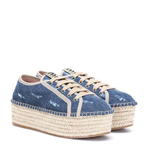 Espadrille-Sneakers aus Denim von Miu Miu
