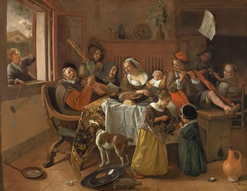 """""""Die fröhliche Familie"""" von Jan Havickszoon Steen, 1668 (Maße: 1,10 m x 1,41 m), Foto: Rijksmuseum Amsterdam"""