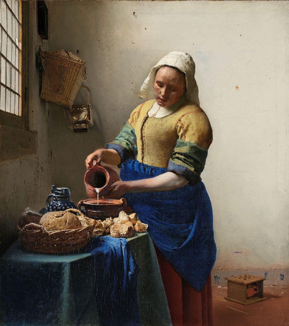 """""""Dienstmagd mit Milchkrug"""" von Johannes Vermeer, 1660 (Maße: 45,5 cm x 41 cm), Foto: Rijksmuseum Amsterdam"""