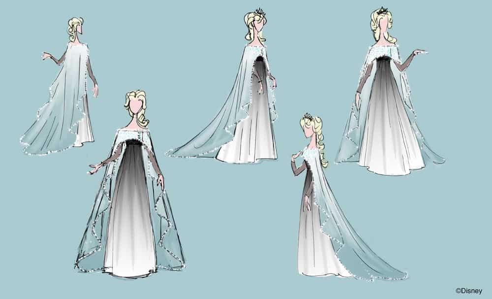Entwurf für das Ballkleid von Kleid, Foto: The Walt Disney Company GSA