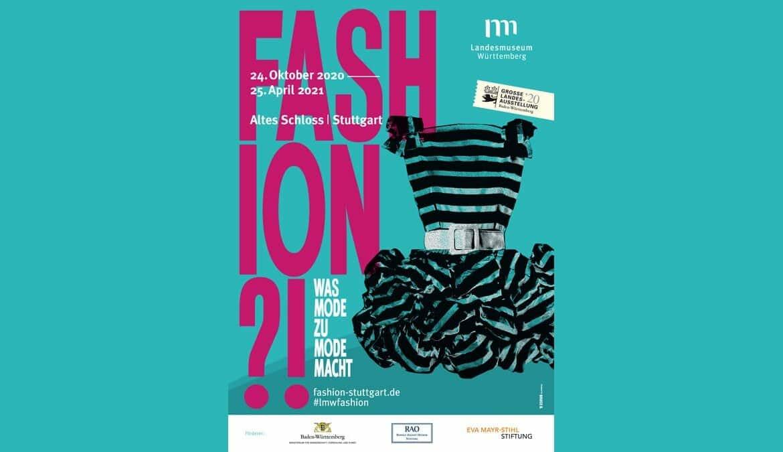 "FASHION?!, Key Visual türkis, Cocktailkleid GLA 2020: ""Fashion?! Was Mode zu Mode macht"" © Landesmuseum Württemberg"
