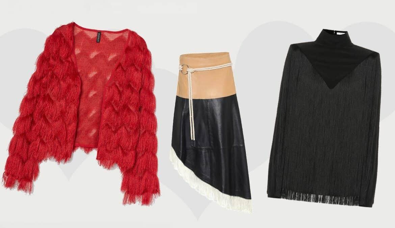 """v.l.n.r.: roter Cardigan mit Fransen von H&M, Midirock """"Amelia"""" aus Leder von Stand Studio, Top aus Seide mit Fransen von Givenchy"""