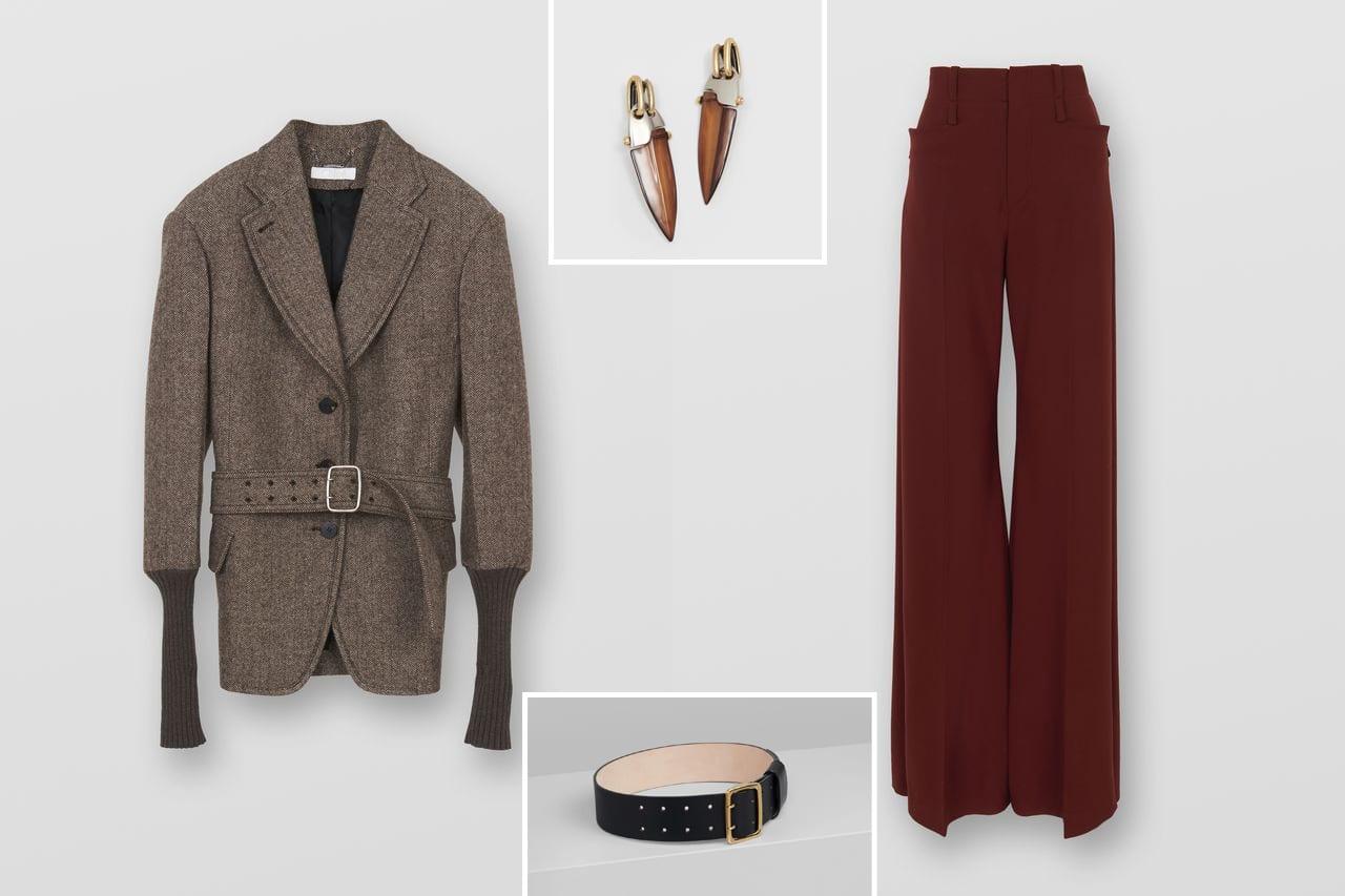 Look von Chloé: Weit geschnittene Wolljacke, Flint Ohrringe, breiter Franchie Gürtel, hochgeschnittene Hose mit Schlag