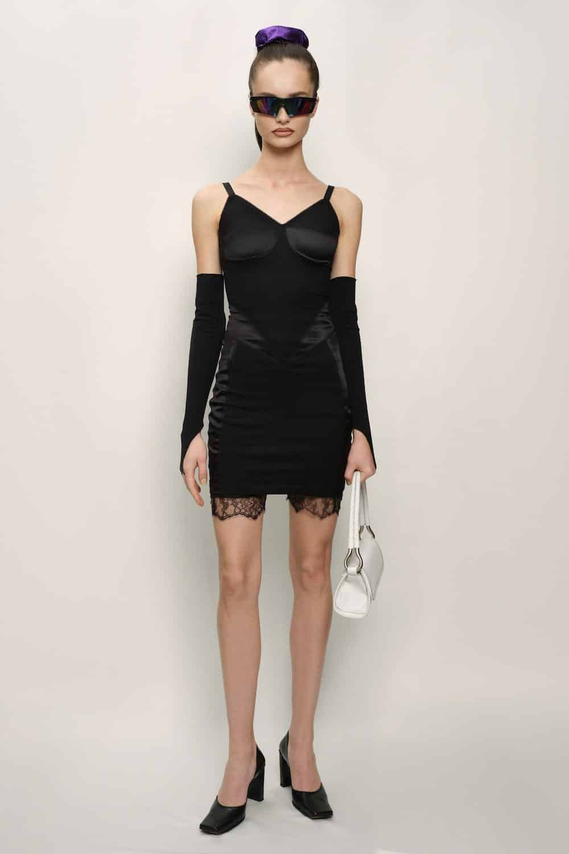 Cristina Savulescu: Retro Dress - Cotton Jersey and Silk Satin - Black - short, Foto: cristinasavulescu.com